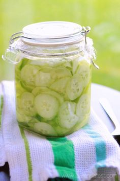 Grandma's Cucumber Salad~ I just made a batch of these. I have nothing better to do with my Dad's summer harder cucumbers. Grandma's Cucumber Salad~ I just made a batch of these. I have nothing better to do with my Dad's summer harder cucumbers. Cucumber Recipes, Vegetable Recipes, Salad Recipes, Healthy Recipes, Cucumber Snack, Chutney, Do It Yourself Food, Canning Recipes, Canning Tips