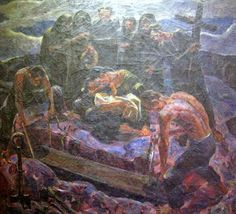"""Vicente S. Manansala's """"Burial, undated, oil painting on canvas."""