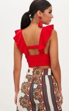 Shop the range of Tops today at PrettyLittleThing; Crop Top Outfits, Casual Outfits, Cute Outfits, Fashion Outfits, Red Crop Top, Cami Crop Top, Crop Tops, Robes Western, Western Dresses