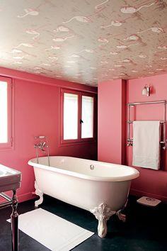 la salle salle de bain baignoire lot pattes de sdb le rose vinaigrette de lion rose dans - Salle De Bain Baignoire Rose