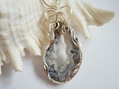 Druzy Jewelry, Wire Wrapped Pendant, Black and White Agate, Handmade Necklace,  238061 by elainesgems, $28.00 USD