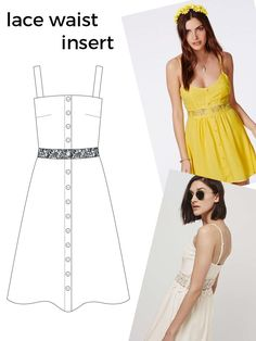 10 Design Hack Ideas for the Seren Dress Fashion Sewing, Diy Fashion, Vintage Fashion, Fashion Outfits, Remake Clothes, Sewing Clothes, Clothing Sketches, Diy Sewing Projects, Dress Sewing Patterns
