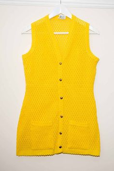 Vintage Womens Bright Yellow Knitted Waistcoat Dress (Crochet Style) Made in UK