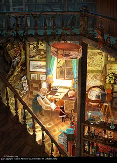 """Jennings Lab"" by Izat Abdraimov. This is wonderfully colorful. The atmosphere draws me into the lab. What's on the shelves? Tell me about the stinger-less scorpion."