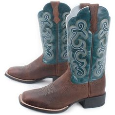 Brown With Turquoise Ariat Quickdraw Boots For Ladies