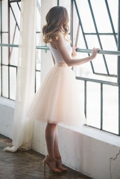 The Wendy - Blush 25, blush midi tulle skirt, blush tutu skirt, womens cute midi skirt, Space 46 tulle