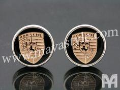 Sterling Silver Gold Porsche Logo Cufflinks by MAVAStyle on Etsy, $649.99