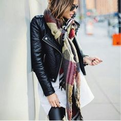 Black leather and a wool shawl.