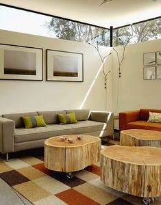 Tree Log Tables With Wheels In Living Room | The Best Wood Furniture