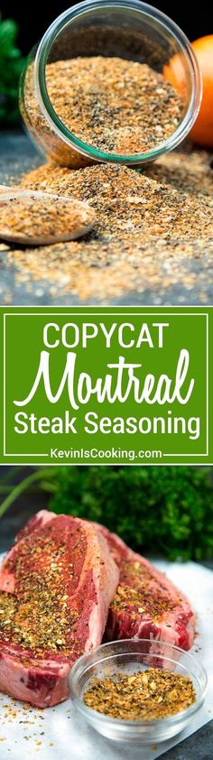 This Copycat Montreal Seasoning recipe is made with most items already in your spice cabinet. Without the loaded salt, this is perfect on grilled meats. via KevinIsCooking Homemade Spices, Homemade Seasonings, Homemade Italian Seasoning, Montreal Seasoning Recipe, Real Food Recipes, Cooking Recipes, Beef Recipes, Dry Rub Recipes, Curry