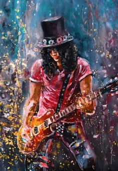 """""""Slash"""" Painting by Miki de Goodaboom posters, art prints, canvas prints, greeting cards or gallery prints. Find more Painting art prints and posters in the ARTFLAKES shop. Music Artwork, Art Music, Guns N Roses, Musik Illustration, Pop Art, Heavy Metal Art, Art Prints Online, New Wave, Oil Painting Abstract"""