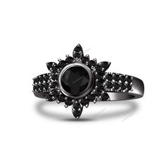 Black Gold Finish Round Cut Real Diamond Elsa Princess Snowflake Engagement Ring #aonedesigns