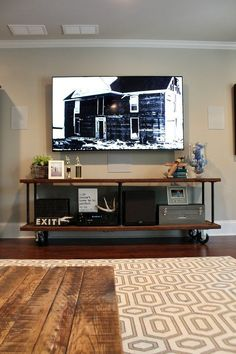 How to build an industrial tv console easy DIY instructions at http://refreshrestyle.com