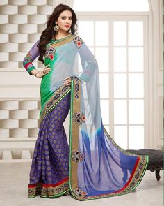 Buy Multi Gitanjali Pure Georgette 3D Pallu at happydeal18.com, India's biggest shopping store