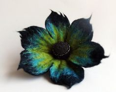 Crazy Peacock Flower , Felted Flower Brooch,Felted Jewelry,black turquoise and yellow flower MADE TO ORDER