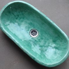 Oval aqua blue sink overtop washbasin unique washstand by Dekornia