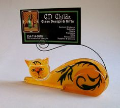 Business Card Holder/Photo Holder  Fused Glass (Scrap Daddy Cat in Orange). $22.00, via Etsy.    Clever