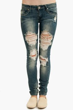 Destroyed Skinny Jeans I would wear leggings under them