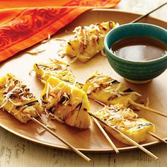 Great veggies and fruit from the grill   Pineapple Satays with Coconut Caramel   Sunset.com