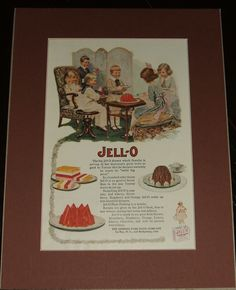 1919 Full Page Color Jello Advertisement , Matted Ready to Frame Great Image   A fine vintage advertisement . This Classic Jello ad is 9 by 12 inches matted. See Photos   This vintage piece of cover art was matted by me personally and is now ready for framing. This would make a unique and special Gift. I do not sell reproductions and I have been matted and framing my own prints for years. A great piece of vintage magazine art.