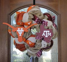 Burlap House Divided Wreath  Texas A & M and by MyDecoratedDoor