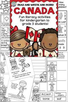 Fun, NoPrep Canada Literacy Activities & Canada Day conversations with kids! - That Fun Reading Teacher Canada For Kids, Canada Day, Kindergarten Activities, Activities For Kids, Kindergarten Literacy, Holiday Activities, Learning Activities, Preschool, Vocabulary Word Walls