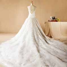 High end Custom Made Luxury Cathedral Train Wedding Dresses 2015 Sexy V Neck Cap Sleeves Vestidos De Noiva Charming Beaded on Aliexpress.com | Alibaba Group
