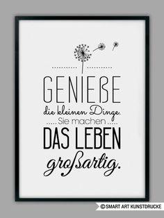 "Impresión original - impresión artística ""ENJOY LIFE"" - un producto de diseño de Smart-A . - Original Print – Lámina ""ENJOY LIFE"" – hecho a mano por Smart-Art-Art Prints en DaWanda Imágen - Words Quotes, Life Quotes, Sayings, Brush Lettering, Hand Lettering, German Quotes, True Words, Quotations, Inspirational Quotes"