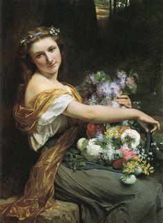 """""""Dionysia"""" (1870) von Pierre Auguste Cot (geboren am 17. Februar 1837 in Bédarieux, gestorben am 2. August 1883 in Paris), französischer Maler."""