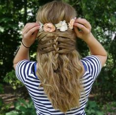 mermaid half braid with a flower crown from hi.braids