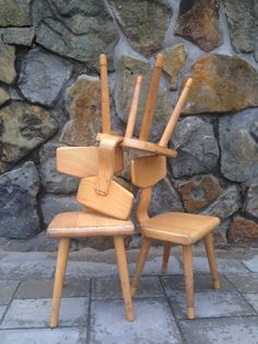 VTG Toddler Chairs // SET of 2 // 4-6 yrs // Plywood // Solid Wood // Tapered legs // SCHILTE Classic // Kindergarten by TrackofTime on Etsy