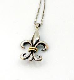 Vintage Pendant Necklace Fleur de Lis by SunburyVintageStore
