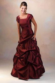 """$110.  Dark red bateau A-line short sleeves pick-ups floor Bridesmaid Dress BD249094. From Mcdresses.com. For some reason wouldn't """"pin"""" from website?     http://www.micdresses.com/Dark-Red-Bateau-Aline-Short-Sleeves-Pickups-Floor-Bridesmaid-Dress-Bd249094-p-953.html"""
