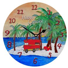 Happy Camper and Red Sports Car large Wall Clock 11 by maremade, $39.99