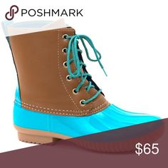 Duck Boots! This listing is for turquoise. These are selling like crazy for fall 🍁🍁🍁 $65 each or $110 for 2 pairs. Other colors available 😍 Select lining in each boot to keep you comfy. Stitched synthetic rubber sole for durability and grip 😊 Price FIRM unless bundled. Shoes Winter & Rain Boots