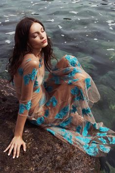 Love and Lemons Orchid Maxi Dress in AQUA - Victorious