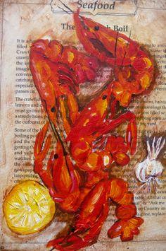 Louisiana Artists' Paintings | June Bug Art: Louisiana Crawfish