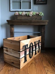 Toy Crate, Rustic Crate, Toy Storage Best Picture For outdoor Toy Storage For Your Taste You are loo Rustic Toy Boxes, Farmhouse Toy Boxes, Pallet Toy Boxes, Rustic Toys, Wooden Toy Boxes, Outdoor Toy Storage, Dog Toy Storage, Childrens Toy Storage, Playroom Storage