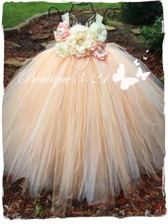 Peach Flower Girl Dress Ivory Flower Girl Dress by - Wedding - Girls Tutu Dresses, Tutus For Girls, Little Girl Dresses, Flower Dresses, Peach Flower Girl Dress, Peach Flowers, Flower Girls, Little Princess, Diy Tutu