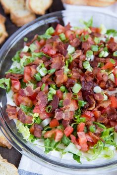 game day food BLT Dip is a creamy and delicious combination of flavors from the classic sandwich favorite. Served with crostini for dipping, it's a game day party hit! Appetizers For A Crowd, Cheese Appetizers, Appetizer Dips, Appetizers For Party, Appetizer Recipes, Party Snacks, Parties Food, Italian Appetizers, Cheese Dips