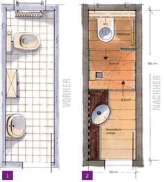 Small bathrooms, mini-baths, small bathrooms under - Bathroom Layout Plans Bathroom Layout Plans, Small Bathroom Layout, Small Bathroom With Shower, Bathroom Floor Plans, Narrow Bathroom, Bathroom Flooring, Small Bathrooms, Airing Cupboard, Student House