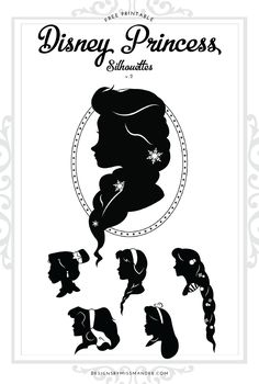 Disney Princess Silhouettes v.2 - Designs By Miss Mandee. The second installment in a growing collection. This set includes Elsa, Mulan, Anna, Rapunzel, Esmerelda, & Alice. Download the printable and SVG cut files for FREE!