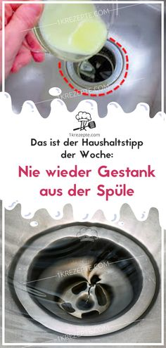 This is the budget tip of the week: Never again stink from the sink – Reze … - 100 life tips Cleaning Day, Green Cleaning, House Cleaning Tips, Cleaning Hacks, Kitchen Cleaning, Cleaning Companies, Susa, Clean House, Rugs On Carpet