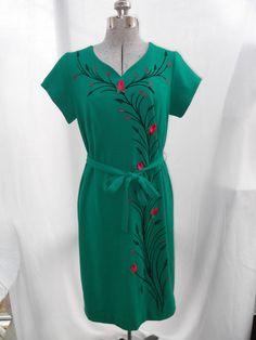 Vintage 1960s 1970s Dress Green Fuschia by TimelessTreasuresVCB, $45.00