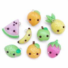 #kawaii #charms #polymer #clay #fruits #banana #peach #orange #apple #watermelon #strawberry #pineapple
