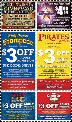 Smoky Mountains - Pigeon Forge Coupons - Gatlinburg Discount Coupons Gatlinburg Coupons, Smoky Mountains Attractions, Tupperware Recipes, Pigeon Forge Tennessee, Party Tickets, Mountain Vacations, Tennessee Vacation, Shopping Coupons, Discount Coupons