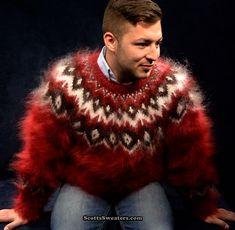 701-011 Men's New Deep Red Hand-Knit Mohair Sweater Crewneck