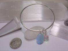 Sterling Silver Bangle braceletBlue Stone by VistaSilver on Etsy