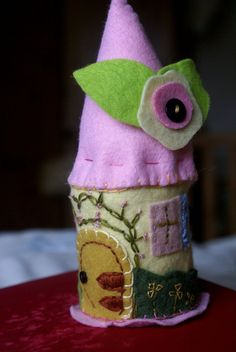 Fairy house - felt house - waldorf playscape -  SALE - nursery decor - tooth fairy house - Waldorf toy