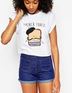 Image 3 of ASOS Cropped T-Shirt with French Toast Print